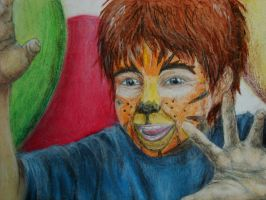 Boy with Tiger Facepaint by sapphiresky1410