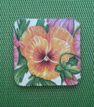 Decoupage Cup cap with violet by SteamJo