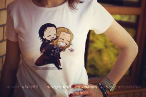 Mibu no Ookami - T-Shirt - Avengers - Thorki by Mibu-no-ookami