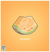 Kawaii Cantaloupe Melon Slice by KawaiiUniverseStudio