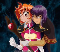 Lina and Xelloss by aachi-chan