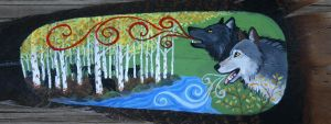 Painted Feather: Wolves by VeronicaRosejones