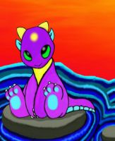 The Purple Dragon Sitting On Rock In The Water by TechBehr