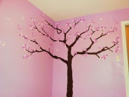 Nursery Cherry Blossom Tree Mural by MF-minK