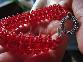 Ruby-Red Ribbon Lace Bracelet by SadiesAccessories