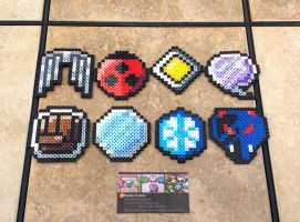 Johto Badges 2.0 - Pokemon Perler Bead Sprites by MaddogsCreations