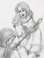Persian Immortal Receives The Spear Of Red Sonja by chewjfsh