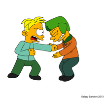 South Park + The Simpsons: Butters Hurts Kyle by KelseyEdward