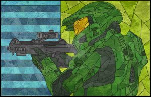 Master Chief Stained Glass by jmascia