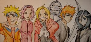 Anime Characters by DoodlePixie
