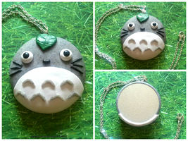 Handmade Polymer Clay Totoro Mirror Necklace! by mattiemazingcharms