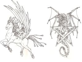 Steampunk'Pegasus-Dragogram' linesprevie by Fachhillis