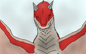 Wyvern Carnotaurus/Wingedcarno front view by TheSpiderAdventurer