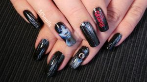 the Grudge - Ju-on inspired nail art by sugarcharmshop