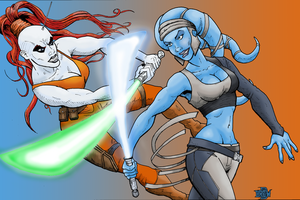 Aurra Vs Aayla Star Wars Print by MightyFooda