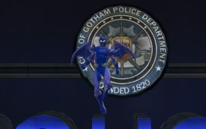 Blue Bat at the Diamond District police station. by mattwo