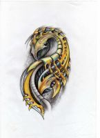 biomechanical tattoo sketch by liliana08