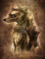 Gold Wolf Painting-Doodle by MoonstalkerWerewolf