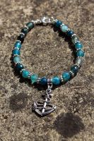 One Of A Kind Turquoise Gem Anchor Bracelet by Clerdy