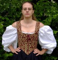 Burgandy and Gold Wench Bodice by MistressKristin