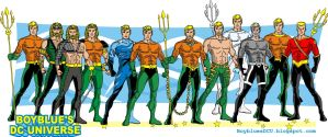 Evolution of Aquaman / Aquaman costumes by BoybluesDCU