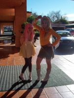 Fluttershy and AppleJack at SacAnime Winter 2012 by DearestLeader