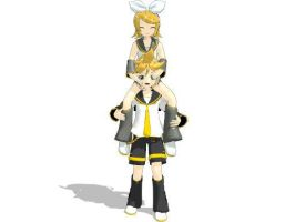 PiggyBack Rin and Len by SamousWebmaster