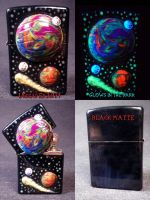 Space 2.0 Zippo by UNdead Ed Glows in the Dark 1 by Undead-Art