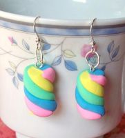 Circus Marshmellow Earrings by Cuddlebugeeshi