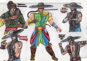 Diferents costumes of Kung Lao by Princess-Flopy-13
