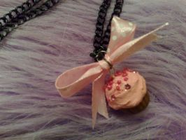 pink ribbon cupcake necklace by PinkCakes