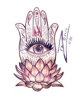 Lotus Motif Hamsa by BlackUniGryphon