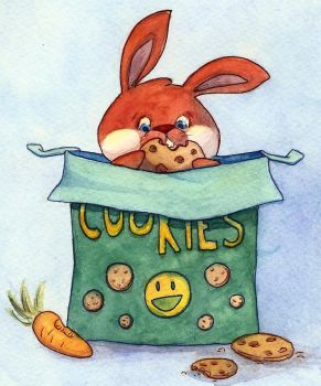 Cookie Bunny by drawmeapicture