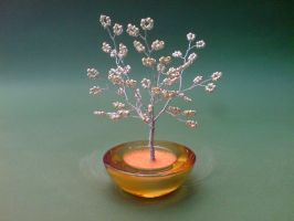 Bonsai Wire Tree Sculpture Silver Beaded by sinisaart
