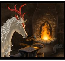 Late Night at the Forge by JourneyHorse