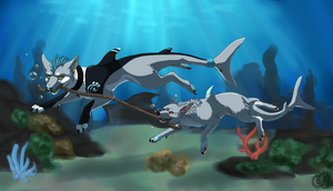 Swimming lesson by Kisekisan