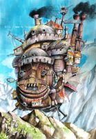 Howl's Moving Castle Watercolor by nilec88