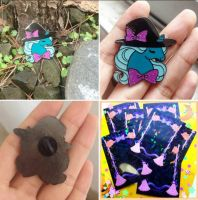 Pony witch enamel pin sample backing card by zambicandy