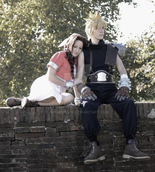 Cloud and Aerith by arthemis92