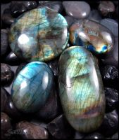 Labradorite Cabochons - Close up by andromeda