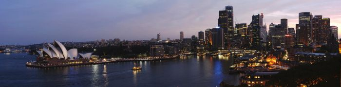 Sydney at night panoramic view by artmik