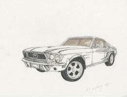 Ford Mustang '68 Sketch by BombinArt