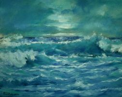 Waves (Blue) oil paint by Boias