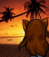 cat at the beach by firefox939