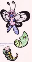 Butterfree, Metapod, Caterpie by theOrangeSunflower