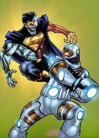 Cyborg vs Cyborg Superman by GreeneLantern