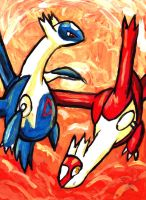 Latios x Latias painting by JaycaChan