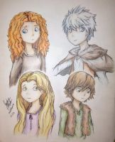 Young Merida, Jack Frost, Rapunzel, and Hiccup by melofarce