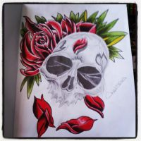 Skull and roses by Chelsea93roc
