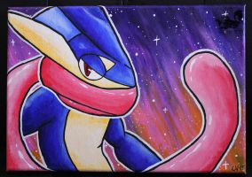 Greninja Acrylic Painting - Closeup by Forge-Your-Fantasy